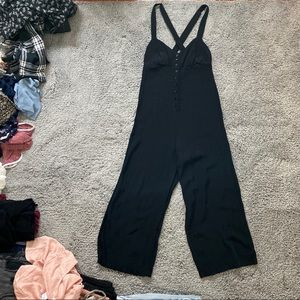UO Buttoned Cropped Wide Leg Jumpsuit